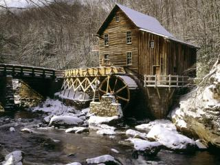 Obrazek: Glade Creek Grist Mill in Winter, Babcock State Park, West Virginia