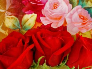 Obrazek: Red Roses on a Painted Plate