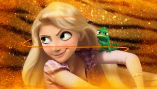 Obrazek: Rapunzel   tangled anger face with gold light and neon glow line