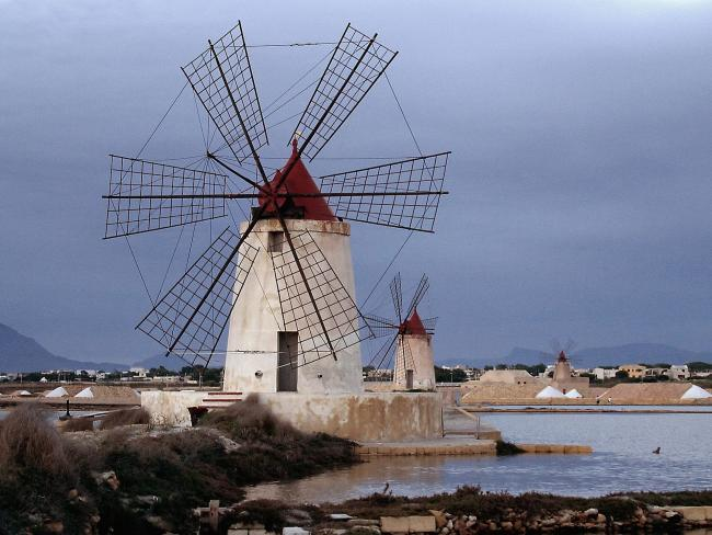 Windmills at Infersa Salt Pans, Marsala, Sicily, Italy